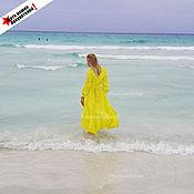 Одежда ручной работы. Ярмарка Мастеров - ручная работа Желтое платье с разрезами. Handmade.