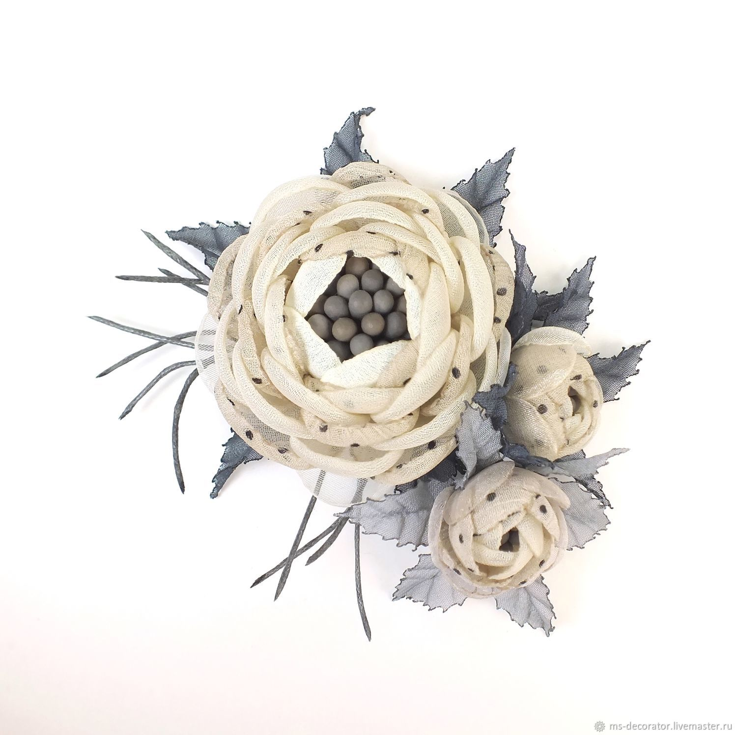Fairy brooch with Polka Dots Handmade flowers made of fabric, Brooches, St. Petersburg,  Фото №1
