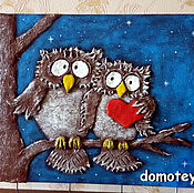 """Для дома и интерьера ручной работы. Ярмарка Мастеров - ручная работа Ключница """"Влюбленные совы"""". Handmade."""