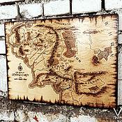 """Картины и панно ручной работы. Ярмарка Мастеров - ручная работа Настенное панно """"Карта Средиземья"""".. Handmade."""
