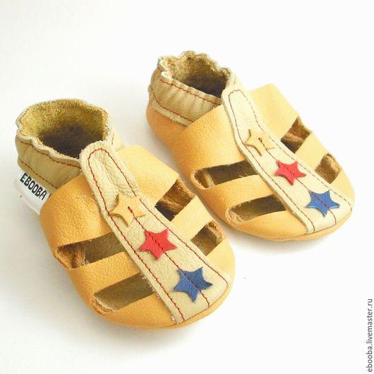 Кожаные чешки пинетки тапочки сандалики жёлтые бежевые со звёздочками красные синие жёлтые ebooba