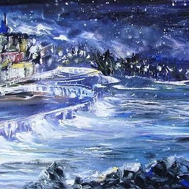 Картины и панно ручной работы. Ярмарка Мастеров - ручная работа Звездная ночь. Абстрактная картина. Смешанная техника. Handmade.