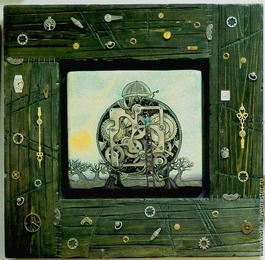 """Фантазийные сюжеты ручной работы. Ярмарка Мастеров - ручная работа. Купить """"Хранитель времени"""". Handmade. Картина, дерево"""