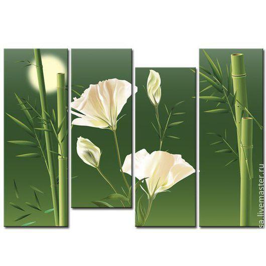 Картины цветов ручной работы. Ярмарка Мастеров - ручная работа. Купить Бамбук и цветы. Handmade. Зеленый, картина, цветы на свадьбу