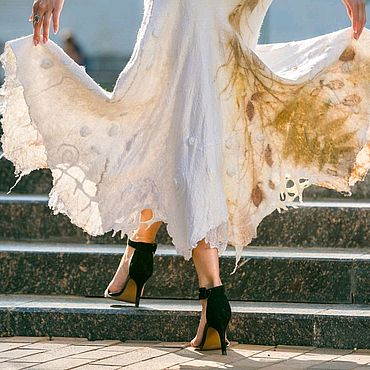 Одежда ручной работы. Ярмарка Мастеров - ручная работа Юбка валяная нунофелтинг.Одежда бохо из войлока. Валяние. Handmade.