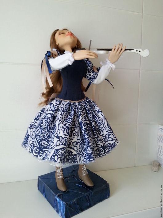 Коллекционные куклы ручной работы. Ярмарка Мастеров - ручная работа. Купить Скрипачка Анечка. Handmade. Тёмно-синий, Паперклей