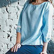 """Блузки ручной работы. Ярмарка Мастеров - ручная работа Блуза льняная """"Прохлада"""" нежно-голубой. Handmade."""