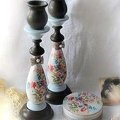 Для дома и интерьера handmade. Livemaster - original item A set of candlesticks and jewelry box round small