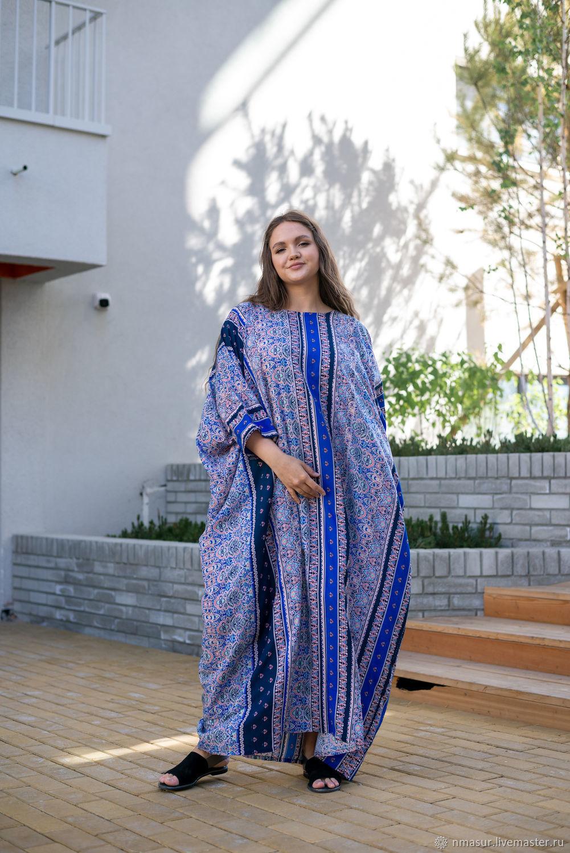 Шикарное платье в пол оверсайз из вискозы синее в полоску, Платья, Новосибирск,  Фото №1