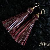 Украшения handmade. Livemaster - original item Drunken cherries - earrings brush made of natural leather and garnet. Handmade.