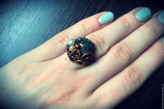 Кольца ручной работы. Ярмарка Мастеров - ручная работа. Купить На дне реки. Handmade. Тёмно-зелёный, кольцо с камнем