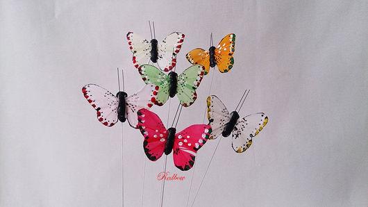 Материалы для флористики ручной работы. Ярмарка Мастеров - ручная работа. Купить Бабочки светлых тонов Д22. Handmade. Бабочка, перья