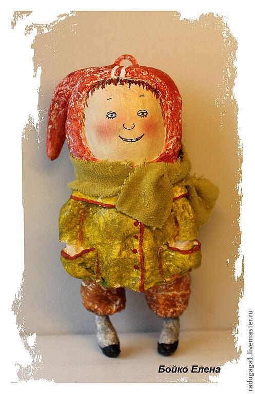 Коллекционные куклы ручной работы. Ярмарка Мастеров - ручная работа. Купить Дети 60-х. Handmade. Салатовый, шапка для мальчика