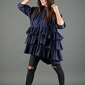 Одежда handmade. Livemaster - original item Loose blue cotton fiber shirt with flounces - SH0214CT. Handmade.