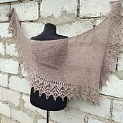 Аксессуары handmade. Livemaster - original item Fishue Bactus Scarf Openwork Shawl With Knitting Needles Katerina Beige. Handmade.