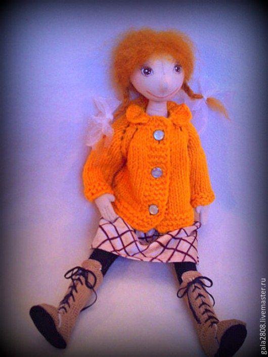 Человечки ручной работы. Ярмарка Мастеров - ручная работа. Купить Алька- текстильная куколка.. Handmade. Коричневый, кукла ручной работы