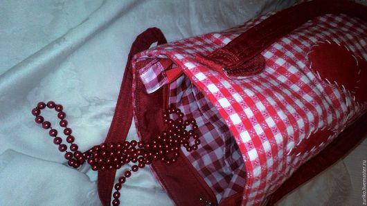 Женские сумки ручной работы. Ярмарка Мастеров - ручная работа. Купить Сумка  красная в клетку. Handmade. Ярко-красный, синтепон