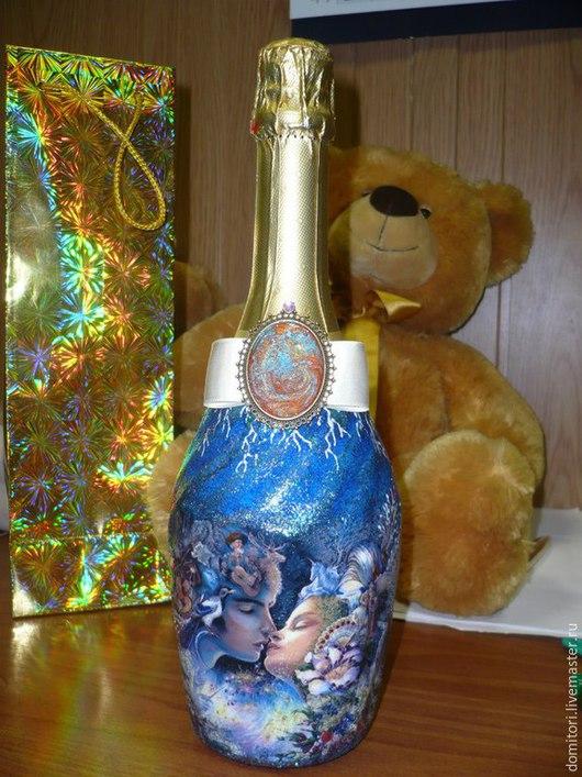 """Персональные подарки ручной работы. Ярмарка Мастеров - ручная работа. Купить Оформление шампанского """"Свадебное"""". Handmade. Синий, оформление подарка"""