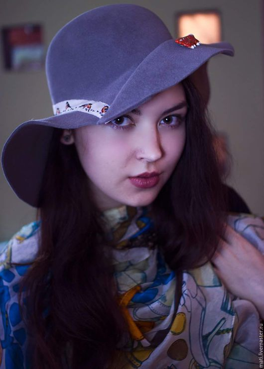 """Шляпы ручной работы. Ярмарка Мастеров - ручная работа. Купить Широкополая шляпа""""Лисичка и снегири"""". Handmade. Однотонный, шляпа женская"""