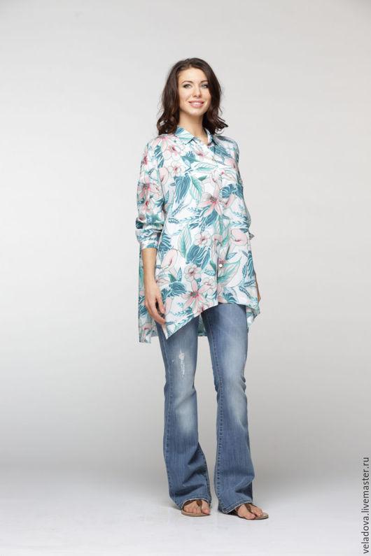 """Большие размеры ручной работы. Ярмарка Мастеров - ручная работа. Купить Блуза - рубашка из вискозы """"Лила"""". Handmade. Цветочный"""