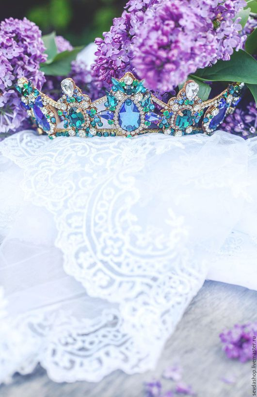 """Диадемы, обручи ручной работы. Ярмарка Мастеров - ручная работа. Купить Корона """"Азалия"""". Handmade. Синий, украшение для волос, изумруд"""