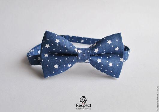 Галстуки, бабочки ручной работы. Ярмарка Мастеров - ручная работа. Купить Галстук бабочка синяя со звездами Respect Stars. Handmade.