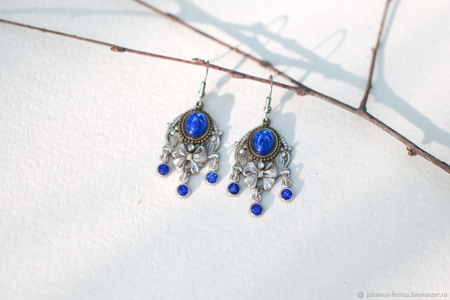 Brooches handmade. Livemaster - handmade. Buy Bright blue earrings with silver plated 'goddess' vintage style.Blue