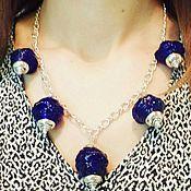 """Украшения handmade. Livemaster - original item Set of jewelry """"Blue Small Lamps"""", lampwork. Handmade."""