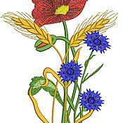 Дизайн и реклама ручной работы. Ярмарка Мастеров - ручная работа букет полевых цветов и колоски дизайн машинной вышивки. Handmade.