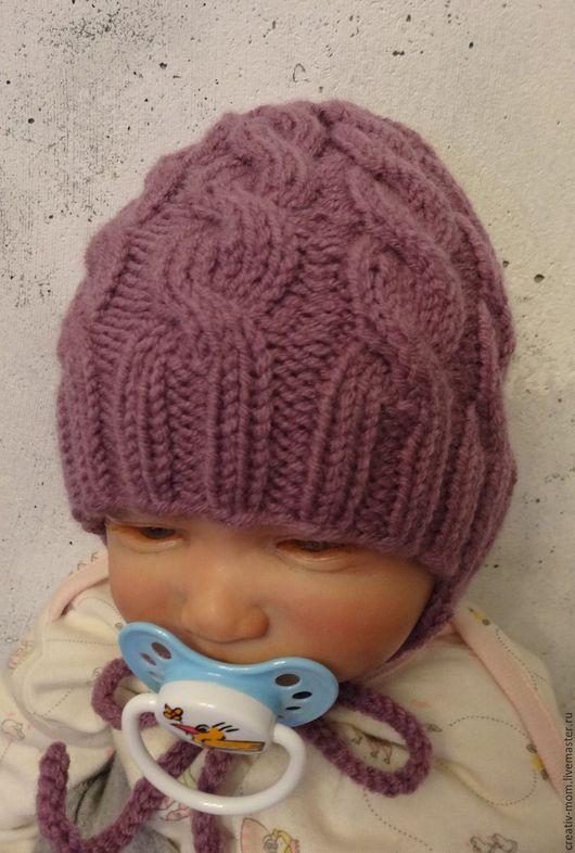 Для новорожденных, ручной работы. Ярмарка Мастеров - ручная работа. Купить шапочка полушерстяная. Handmade. Бледно-сиреневый, для новорожденной