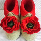 """Обувь ручной работы. Ярмарка Мастеров - ручная работа Валяная домашняя обувь. Валеночки """" маков цвет"""" сделаю на заказ. Handmade."""