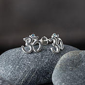Украшения handmade. Livemaster - original item Om earrings Pusey silver. Yoga decorations. Handmade.