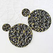 Украшения handmade. Livemaster - original item Large round black earrings discs made of polymer clay, poussettes. Handmade.