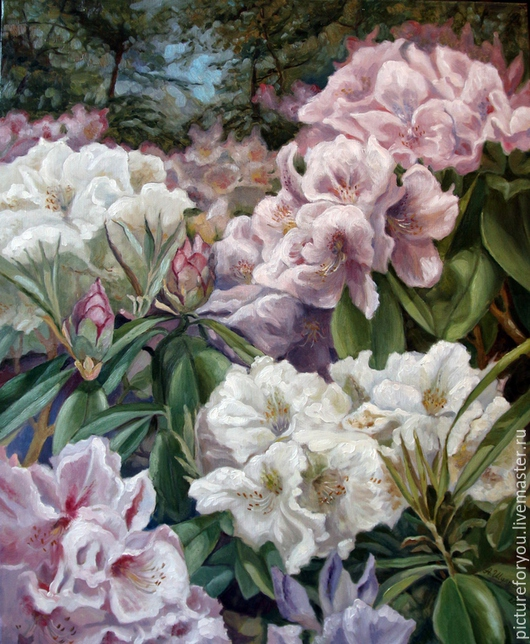 Картины цветов ручной работы. Ярмарка Мастеров - ручная работа. Купить Рододендроны. Handmade. Разноцветный, картина на холсте