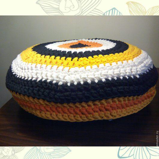 Текстиль, ковры ручной работы. Ярмарка Мастеров - ручная работа. Купить Подушка-сидушка (Интерьерная вязаная подушка-пуф). Handmade.