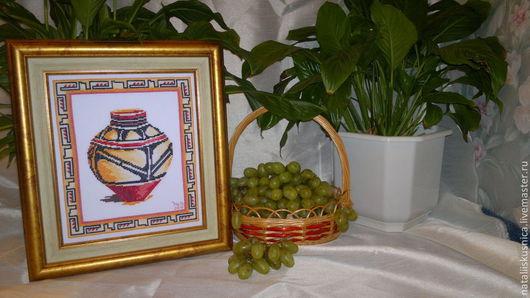 Натюрморт ручной работы. Ярмарка Мастеров - ручная работа. Купить Вышивка крестом. Спелая оливка.. Handmade. Вышивка крестом, сосуд