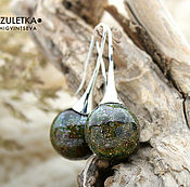 Украшения manualidades. Livemaster - hecho a mano Bosque de hadas - pendientes de perlas bola lampwork-accesorios plateado. Handmade.