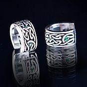 Украшения handmade. Livemaster - original item Silver earrings with Celtic patterns and two stones. Handmade.