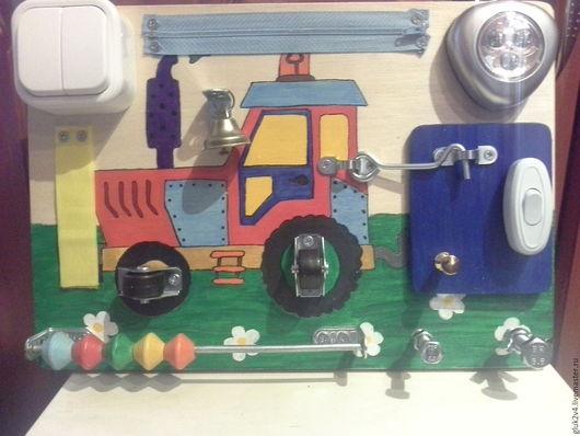 Развивающие игрушки ручной работы. Ярмарка Мастеров - ручная работа. Купить Бизиборд-мини Трактор1. Handmade. Комбинированный, 1год, липучка