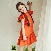 """Работы для детей, ручной работы. Ярмарка Мастеров - ручная работа Хлопковое платье """"Orange"""". Handmade."""