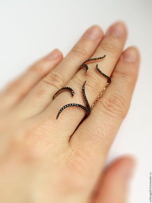 Кольца ручной работы. Ярмарка Мастеров - ручная работа. Купить Кольцо Виражи. Handmade. Черный, позолоченное кольцо, кольцо виражи