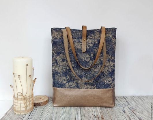 Женские сумки ручной работы. Ярмарка Мастеров - ручная работа. Купить Сумка джинсовая с цветами. Handmade. Джинсовая сумка