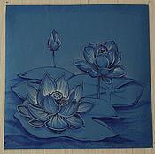 """Картины и панно ручной работы. Ярмарка Мастеров - ручная работа Рисунок """"Лотосы в синем"""". Handmade."""