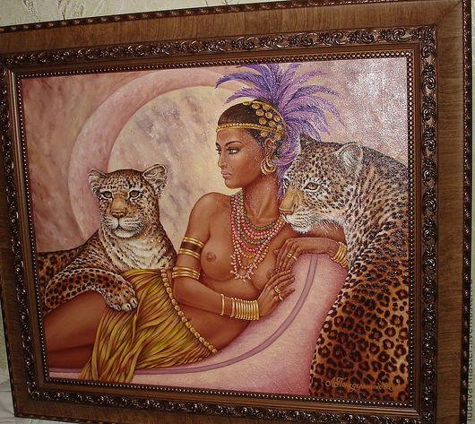 Люди, ручной работы. Ярмарка Мастеров - ручная работа. Купить Картина маслом -Царица джунглей свободная копия. Handmade.