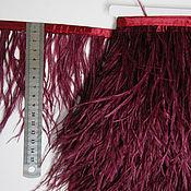 handmade. Livemaster - original item Trim of ostrich feathers 10-15 cm dark-wine (bordo). Handmade.