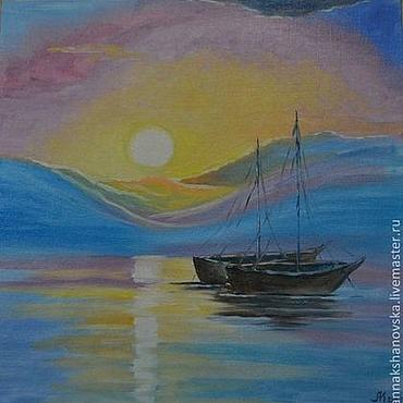 """Картины и панно ручной работы. Ярмарка Мастеров - ручная работа Картина """"Лодки"""". Handmade."""