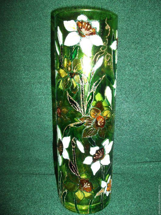 """Вазы ручной работы. Ярмарка Мастеров - ручная работа. Купить Ваза """"Нарциссы"""". Handmade. Зеленый, ярко-зелёный, стеклянная ваза"""
