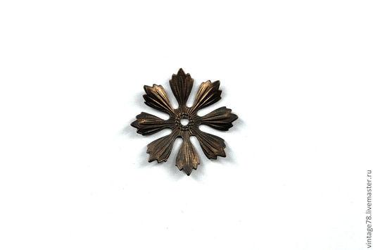 Для украшений ручной работы. Ярмарка Мастеров - ручная работа. Купить Винтажная фурнитура, латунный штамп цветок H41. Handmade.
