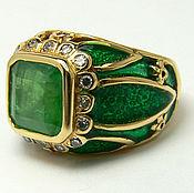 Украшения handmade. Livemaster - original item 4.30tcw Colombian Emerald Diamond, Enamel & Gold Cocktail Ring,. Handmade.