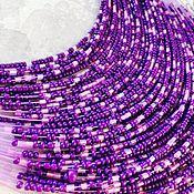 Украшения ручной работы. Ярмарка Мастеров - ручная работа Колье + серьги +браслет из голубого бисера. Handmade.